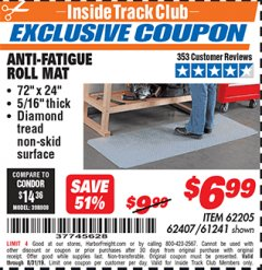 Harbor Freight ITC Coupon ANTI-FATIGUE ROLL MAT Lot No. 61241/62205/62407 Expired: 8/31/19 - $6.99