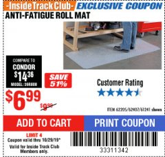 Harbor Freight ITC Coupon ANTI-FATIGUE ROLL MAT Lot No. 61241/62205/62407 Expired: 10/29/19 - $6.99