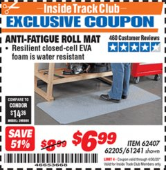 Harbor Freight ITC Coupon ANTI-FATIGUE ROLL MAT Lot No. 61241/62205/62407 Expired: 4/30/20 - $6.99
