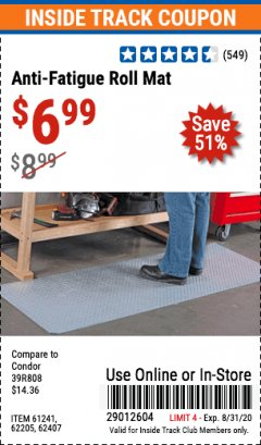 Harbor Freight ITC Coupon ANTI-FATIGUE ROLL MAT Lot No. 61241/62205/62407 Expired: 8/31/20 - $6.99