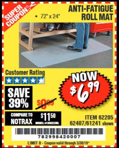 Harbor Freight Coupon ANTI-FATIGUE ROLL MAT Lot No. 61241/62205/62407 Expired: 3/30/19 - $6.99