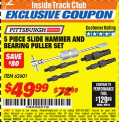 Harbor Freight ITC Coupon 5 PIECE SLIDE HAMMER AND BEARING PULLER SET Lot No. 62601/95987 Expired: 9/30/18 - $49.99