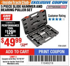 Harbor Freight ITC Coupon 5 PIECE SLIDE HAMMER AND BEARING PULLER SET Lot No. 62601/95987 Expired: 12/18/19 - $49.99