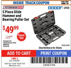 Harbor Freight ITC Coupon 5 PIECE SLIDE HAMMER AND BEARING PULLER SET Lot No. 62601/95987 Dates Valid: 5/14/20 - 6/30/20 - $49.99