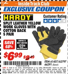 Harbor Freight ITC Coupon SPLIT LEATER WORK GLOVES WITH COTTON BACK Lot No. 61457/66291 Expired: 9/8/18 - $6.99