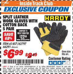 Harbor Freight ITC Coupon SPLIT LEATER WORK GLOVES WITH COTTON BACK Lot No. 61457/66291 Expired: 11/4/18 - $6.99