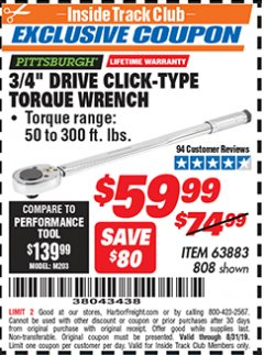 "Harbor Freight ITC Coupon 3/4"" DRIVE TORQUE WRENCH Lot No. 808/63883 Expired: 8/31/19 - $59.99"