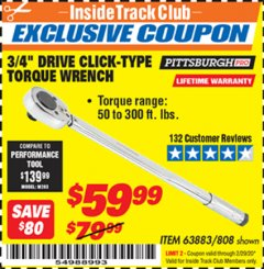"Harbor Freight ITC Coupon 3/4"" DRIVE TORQUE WRENCH Lot No. 808/63883 Expired: 2/29/20 - $59.99"