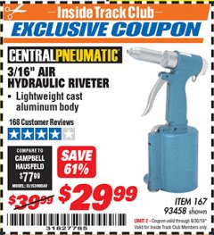 "Harbor Freight ITC Coupon 3/16"" AIR HYDRAULIC RIVETER Lot No. 93458 Expired: 9/30/19 - $29.99"