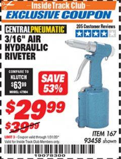 "Harbor Freight ITC Coupon 3/16"" AIR HYDRAULIC RIVETER Lot No. 93458 Expired: 1/31/20 - $29.99"
