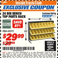 Harbor Freight ITC Coupon 24 BIN BENCH TOP PARTS RACK Lot No. 69572/95496 Expired: 8/31/18 - $29.99