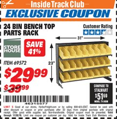 Harbor Freight ITC Coupon 24 BIN BENCH TOP PARTS RACK Lot No. 69572/95496 Expired: 11/30/18 - $29.99