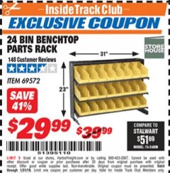 Harbor Freight ITC Coupon 24 BIN BENCH TOP PARTS RACK Lot No. 69572/95496 Expired: 1/31/19 - $29.99