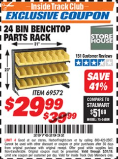Harbor Freight ITC Coupon 24 BIN BENCH TOP PARTS RACK Lot No. 69572/95496 Expired: 3/31/19 - $29.99