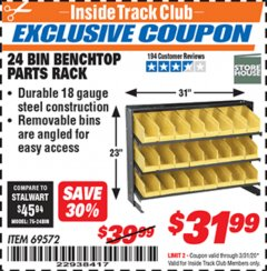 Harbor Freight ITC Coupon 24 BIN BENCH TOP PARTS RACK Lot No. 69572/95496 Expired: 3/31/20 - $31.99