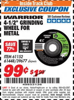 "Harbor Freight ITC Coupon 4-1/2"" GRINDING WHEEL FOR METAL Lot No. 39677/61152/61448 Expired: 1/31/19 - $0.99"