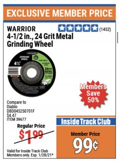 "Harbor Freight ITC Coupon 4-1/2"" GRINDING WHEEL FOR METAL Lot No. 39677/61152/61448 Expired: 1/28/21 - $0.99"