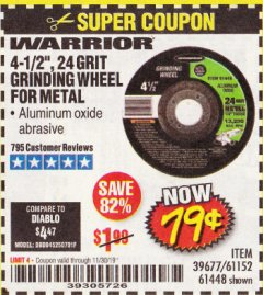"Harbor Freight Coupon 4-1/2"" GRINDING WHEEL FOR METAL Lot No. 39677/61152/61448 Expired: 11/30/19 - $0.79"