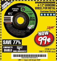 "Harbor Freight Coupon 4-1/2"" GRINDING WHEEL FOR METAL Lot No. 39677/61152/61448 Expired: 2/8/20 - $0.99"
