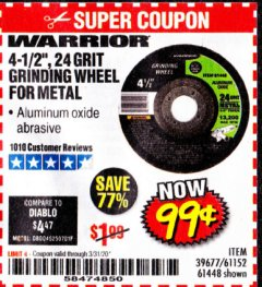 "Harbor Freight Coupon 4-1/2"" GRINDING WHEEL FOR METAL Lot No. 39677/61152/61448 Expired: 3/31/20 - $0.99"