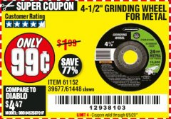 "Harbor Freight Coupon 4-1/2"" GRINDING WHEEL FOR METAL Lot No. 39677/61152/61448 Expired: 6/30/20 - $0.99"