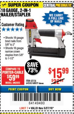 Harbor Freight Coupon 18 GAUGE 2-IN-1 NAILER/STAPLER Lot No. 68019/61661/63156 Expired: 5/27/18 - $15.99
