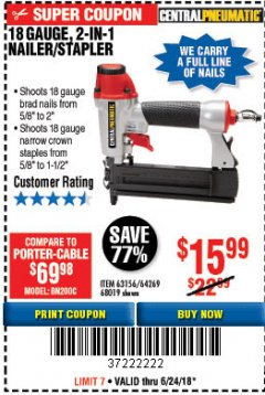 Harbor Freight Coupon 18 GAUGE 2-IN-1 NAILER/STAPLER Lot No. 68019/61661/63156 Expired: 6/24/18 - $15.99