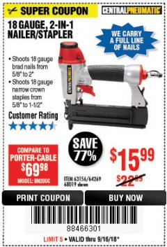Harbor Freight Coupon 18 GAUGE 2-IN-1 NAILER/STAPLER Lot No. 68019/61661/63156 Expired: 9/16/18 - $15.99