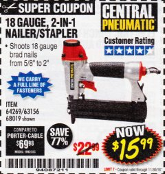 Harbor Freight Coupon 18 GAUGE 2-IN-1 NAILER/STAPLER Lot No. 68019/61661/63156 Expired: 11/30/18 - $15.99