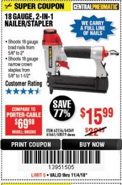 Harbor Freight Coupon 18 GAUGE 2-IN-1 NAILER/STAPLER Lot No. 68019/61661/63156 Expired: 11/4/18 - $15.99