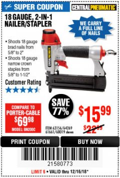 Harbor Freight Coupon 18 GAUGE 2-IN-1 NAILER/STAPLER Lot No. 68019/61661/63156 Expired: 12/16/18 - $15.99