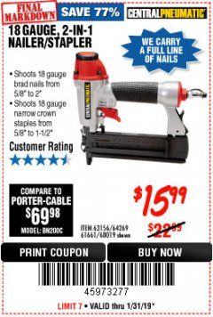 Harbor Freight Coupon 18 GAUGE 2-IN-1 NAILER/STAPLER Lot No. 68019/61661/63156 Expired: 1/31/19 - $15.99