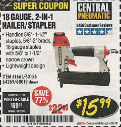 Harbor Freight Coupon 18 GAUGE 2-IN-1 NAILER/STAPLER Lot No. 68019/61661/63156 Expired: 4/30/19 - $15.99