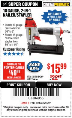 Harbor Freight Coupon 18 GAUGE 2-IN-1 NAILER/STAPLER Lot No. 68019/61661/63156 Expired: 3/17/19 - $15.99