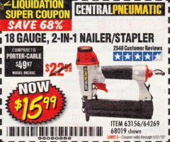 Harbor Freight Coupon 18 GAUGE 2-IN-1 NAILER/STAPLER Lot No. 68019/61661/63156 Expired: 5/31/19 - $15.99