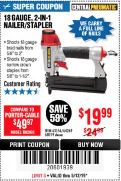 Harbor Freight Coupon 18 GAUGE 2-IN-1 NAILER/STAPLER Lot No. 68019/61661/63156 Expired: 5/12/19 - $19.99