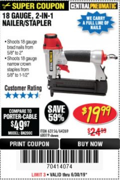 Harbor Freight Coupon 18 GAUGE 2-IN-1 NAILER/STAPLER Lot No. 68019/61661/63156 Expired: 6/30/19 - $19.99