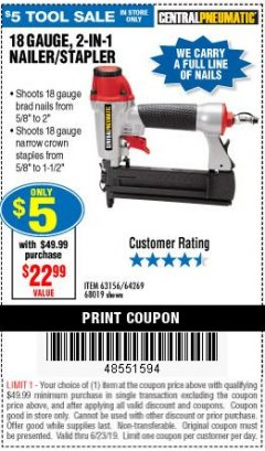Harbor Freight Coupon 18 GAUGE 2-IN-1 NAILER/STAPLER Lot No. 68019/61661/63156 Expired: 6/23/19 - $5