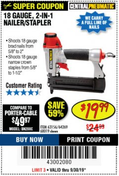 Harbor Freight Coupon 18 GAUGE 2-IN-1 NAILER/STAPLER Lot No. 68019/61661/63156 Expired: 9/30/19 - $19.99