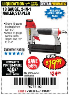 Harbor Freight Coupon 18 GAUGE 2-IN-1 NAILER/STAPLER Lot No. 68019/61661/63156 Expired: 10/31/19 - $19.99