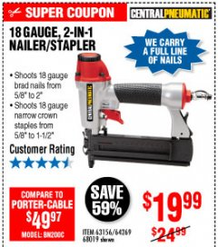Harbor Freight Coupon 18 GAUGE 2-IN-1 NAILER/STAPLER Lot No. 68019/61661/63156 Expired: 10/4/19 - $19.99
