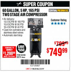 Harbor Freight Coupon 5 HP, 60 GALLON 165 PSI AIR COMPRESSOR Lot No. 62299/93274 Expired: 2/3/19 - $749.99