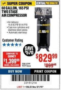 Harbor Freight Coupon 5 HP, 60 GALLON 165 PSI AIR COMPRESSOR Lot No. 62299/93274 Expired: 9/1/19 - $829.99