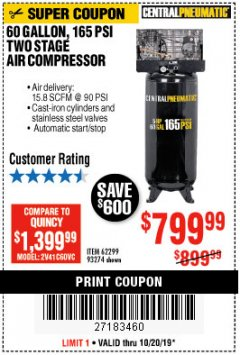 Harbor Freight Coupon 5 HP, 60 GALLON 165 PSI AIR COMPRESSOR Lot No. 62299/93274 Expired: 11/30/19 - $799.99