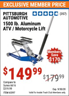 Harbor Freight ITC Coupon 1500 LB. CAPACITY LIGHTWEIGHT ALUMINUM MOTORCYCLE LIFT Lot No. 63397 Expired: 9/30/20 - $149.99