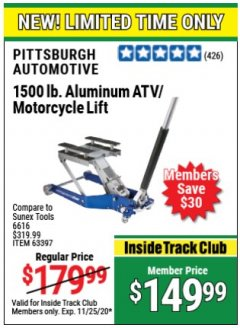 Harbor Freight Coupon 1500 LB. CAPACITY LIGHTWEIGHT ALUMINUM MOTORCYCLE LIFT Lot No. 63397 Valid Thru: 11/25/20 - $149.99