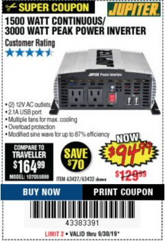 Harbor Freight Coupon 1500 WATT CONTINUOUS/3000 WATT PEAK POWER INVERTER Lot No. 60601/61628/63427/63432 Expired: 9/30/19 - $94.99