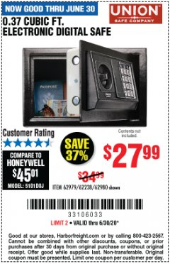 Harbor Freight Coupon 0.37 CUBIC FT. ELECTRONIC DIGITAL SAFE Lot No. 62238/93575 Valid Thru: 6/30/20 - $27.99