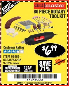 Harbor Freight Coupon 80 PIECE ROTARY TOOL KIT Lot No. 68986/97626/63292/63235 Expired: 5/19/18 - $6.99