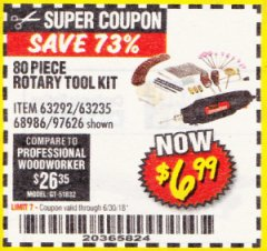Harbor Freight Coupon 80 PIECE ROTARY TOOL KIT Lot No. 68986/97626/63292/63235 Expired: 6/30/18 - $6.99